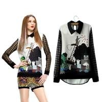 Blusas Femininas 2014 Women Blouse Chiffon Printed Women Shirt Tops Cusual Camisa Femininas Women Clothing S-L  # 2855