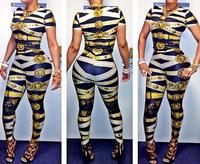 Sexy Club Bandage Jumpsuit Fashion female bandage Bodycon BodySuits gold stripe Womens short sleeve Rompers