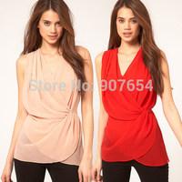 Hot Sell Free Shipping Cross Waist Deep V Design Wrapped Layered Chiffon Shirt Waist Solid Women T-shirt
