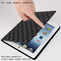For Apple iPad mini fashion plaid pattern leather protective sleeve For ipad mini dormant bracket shell / For iPad mini holster