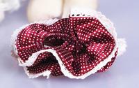 10pcs Small Polka Dot Double Layer Chiffon Hair Scrunchies Elastic Hair Bands Ponytail Ties Free Shipping