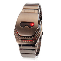 New Iron Man Wrist Watch LED Display Blue / Red Light Stain Steel Band Wrist Watch Free Shipping