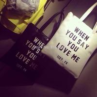 Promotion! Brand Woman Bag Shoulder Bag When You Say You Love Me Great Letter pack South Korea retro letter