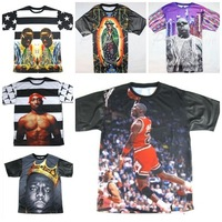 2014Hip hop star men clothes hba1991 inc Kanye west/2pac tupac shakur rihanna tupac print Leather sleeves 3D T shirts tops tees