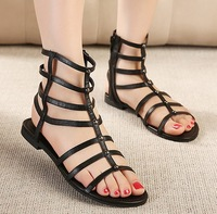 Open Toe Boots new 2014 ladies Summer shoes woman roman Gladiator Sandals for Women peep toe Flats Cut-outs girls GL141571