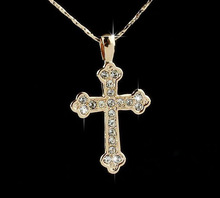 Necklaces wholesale 18k gold plated made with swarovski crystal rhinestone alloy cross pendant necklace 2014 fashion jewelry