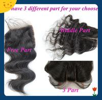 Peruvian Closure Lace Closure Body Wave Virgin Hair 4x4 Middle 3 Way Part Bleached Knots Juliet Hair Top Closure