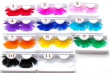 Wholesale 4 Pairs Fashion Colors Cosplay Feather False Eyelashes Party Costumes Fake Eye Lashes Makeup Tool