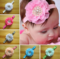 Free shipping Wholesale Infant Baby Hair Accessories chiffon Flower Pearl Combination Girls Hair Band Kids Headband