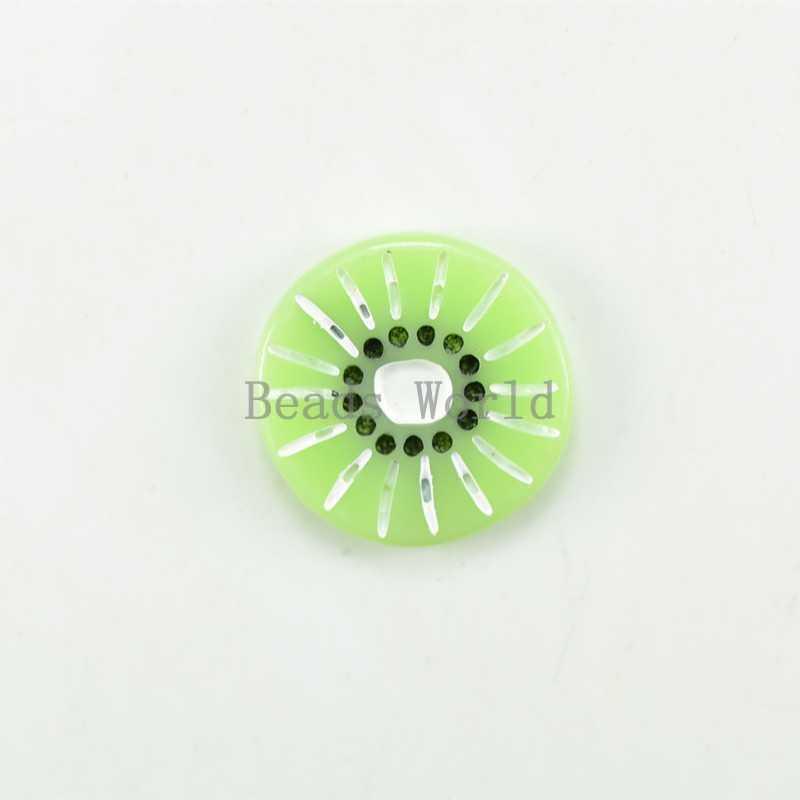 20 Pcs Green Kiwi Resin Flatback Cabochon Scrapbook Embellishment For Handcraft DIY Jewelry Findings17x16mm W03618 X
