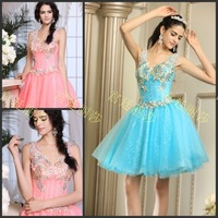 Luxury V-neck A-line Knee-length Short Crystal Vestido Bridesmaid Prom Graduation Formal Party Dress(XNE-ED004)