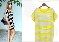 2014 plus-size women in Europe and the contrast color stripe loose thin chiffon dress with short sleeves