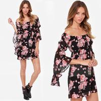 FanShou Free Shipping 2014 Summer Dress Women Fashion Long Sleeve Slash Neck Flower Print Sexy Bohemian Chiffon Dress XXL 6112