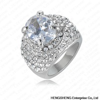 New Arrival Gorgeous White Oval Engagement Rings/Ring for Women With Platinum Plated & Austrian Crystals Charm Jewelry Ri-HQ0146