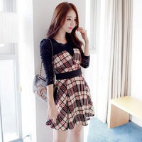 2014 new  long sleeve restoring ancient   England Bra complex Gulei Si -sleeved plaid dress stitching Slim put on a large 8557