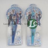 2pcs/lot Frozen The princess Fan Flash Small Fan Ball-Point Pen Cartoon Stationery Dazzle Light Education For Kids Baby Toy