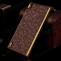 hk free shipping 1pc/tvc-mall Football Pattern Leather Skin Hard Phone Shell for Huawei Ascend P7