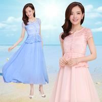 2014 summer slim sweet breathable full lace dress short-sleeve chiffon one-piece dress women's