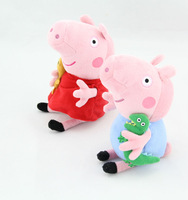2 pcs/lot New arrive 30CM 19CM Cute Peppa Pig With Teddy Bear George Pig Plush Doll Toy Stuffed Plush Cartoon Plush Kids Gift