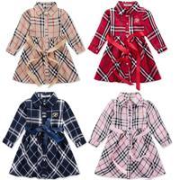 New 2014 Autumn 2-6yrs Children's Clothing Dresses Girls brand Plaid long-sleeved dress Fashion beautiful girl party dress 951