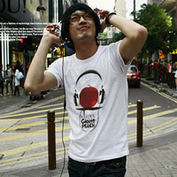 New mens Tee  summer new  printing T-shirts  White free shipping