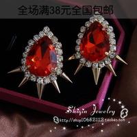 Personalized fashion punk rivet acrylic drop ruby big stud earrings
