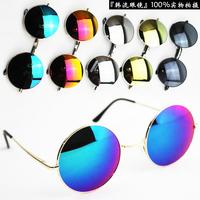 HR024  FREE SHIPPING Fashion vintage round box van anti-uv sunglasses male sunglasses circle mercury reflective glasses female