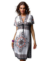 Desigual Rushed Natural Broadcloth Beach New 2014 Women Ladies Vintage Print Dress Summer Dresses Mini Lovely Shipping F4178