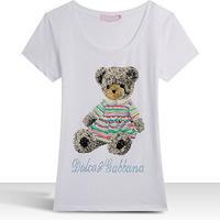 Wholesale Price Cute Rhinestone Letters Cartoon Bear Animal Print O-neck New Collection 2014 T-shirt Women Brand XXXL
