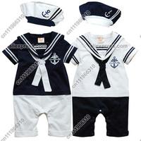 Cute Baby Infant Kid Child Toddler Boy Girl Navy Marine Onesie Bodysuit Romper Jumpsuit Outfit One-Piece Sailor Suit Set Costume