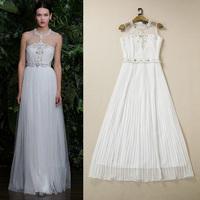 Luxury brand high-end dress evening dress heavy beading Long white dress  Evening dress free shipping