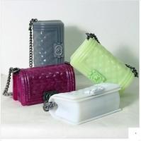 2014 fashion candy color jelly bag small plaid chain bag fashionable casual women's handbag messenger bag