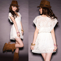 New 2014 Summer Sexy Women Lace Deep V-Neck Mini Dress Vestidos, White, Size Free