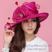Free Shipping Elegant 2014 Women Dress Hat Sinamay Hat Sinamay Ribbons Women Hat Sun-Shading Fashion Summer Sun Hat