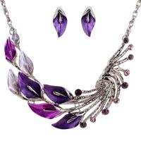 Fashion Unique Tibetan Silver Purple Leaf Peacock Chain Crystal Earrings Necklace Set Jewelry Set
