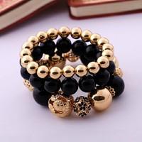 Charms Bracelet Gold Bracelet Vintage Fashion Graceful Beads Stretch Bracelet For Women
