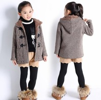 8 10 12 years Girls sweater jacket kids hooded cardigan sweater children fur collar casual coats for teens hot sale winter dress