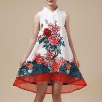 Summer national trend fluid print embroidery low-high plate buttons sleeveless flower tank dress