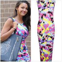 New 2014 Spring summer women casual dress fashion beach O-neck sleeveless Floral Splash printed tank top Celeb Bodycon dresses