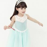EMS DHL Free shipping little girls kids Cartoon Cute Character Princess Tulle Frozen Princess Summer Cartoon Lace Dress NEW