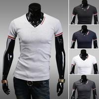 Hot ! Free Shipping 2014 mens t shirt Men's Fashion Short Sleeve Tee T Shirts,5 ColorS,V-Neck, Good Quality, Drop Shipping