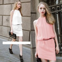 New 2014 Summer Fashion Women Chiffon Short Mini Tank Dress Vestidos with Belt, 6 Colors, S, M, L, XL, XXL