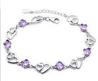 Silver jewelry! 100% Real 925 silver Double heart six drill 925 sterling silver amethyst bracelet free shipping