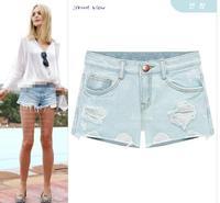 2014 Fashion Shorts Women Slim Elegant Vintage Denim Female Shorts Solid Blue Short Jeans Hole Nostalgic Jeans Denim Short