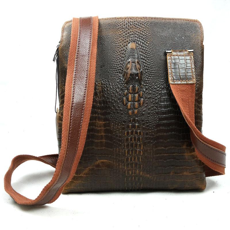 Men Messenger bags leather business single shoulder bag head layer cowhide pressure crocodile leather bags vintage bag wholesale(China (Mainland))