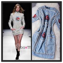 BAROCCO New Fashion 2015 Spring Runway Dresses High Quality Women's Stunning Hand Beaded Embroidery Novelty Denim Dress(China (Mainland))