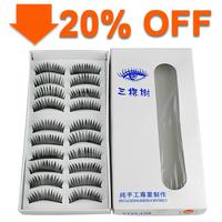 10 Pairs Handmade Fake False Eyelash Natural Look Transparent Stem  #225
