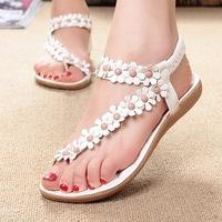 New retail Flip-flop sandals open toe flip women's shoes flat flats bohemia flower beaded soft outsole sweet size 35-39