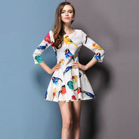 New 2014 Spring Cute Women Bird Print Mini Dress Vestidos, White, Black, S, M, L, XL