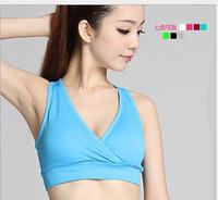 Free shipping North American style v-neck cross movement underwear bra yoga bra (sports running jump hold)